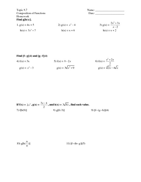 Printables. Composition Of Functions Worksheet