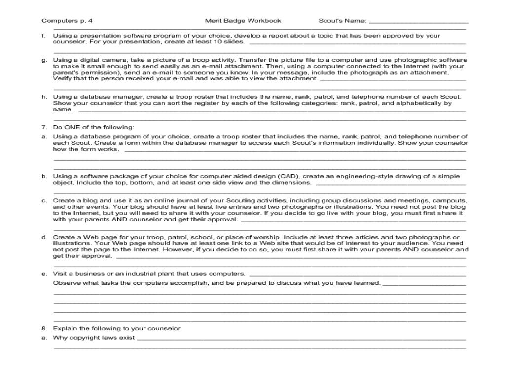 Robotics Merit Badge Worksheet. Worksheets. Tutsstar