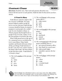 5th Grade  Context Clues Worksheets 5th Grade - Printable ...