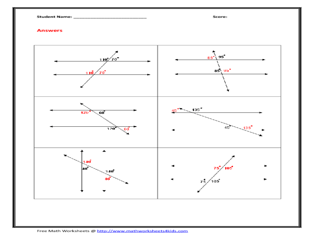 Transversal Angles Worksheet Worksheets Tutsstar