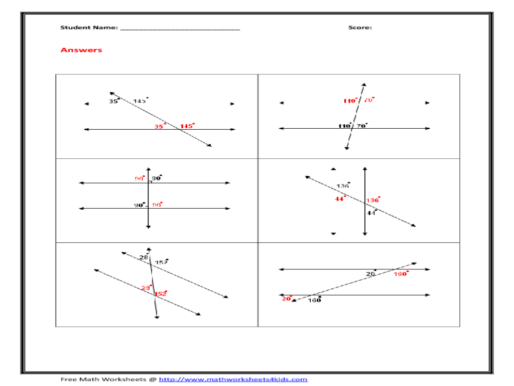 Transversal Worksheet 3d Shapes