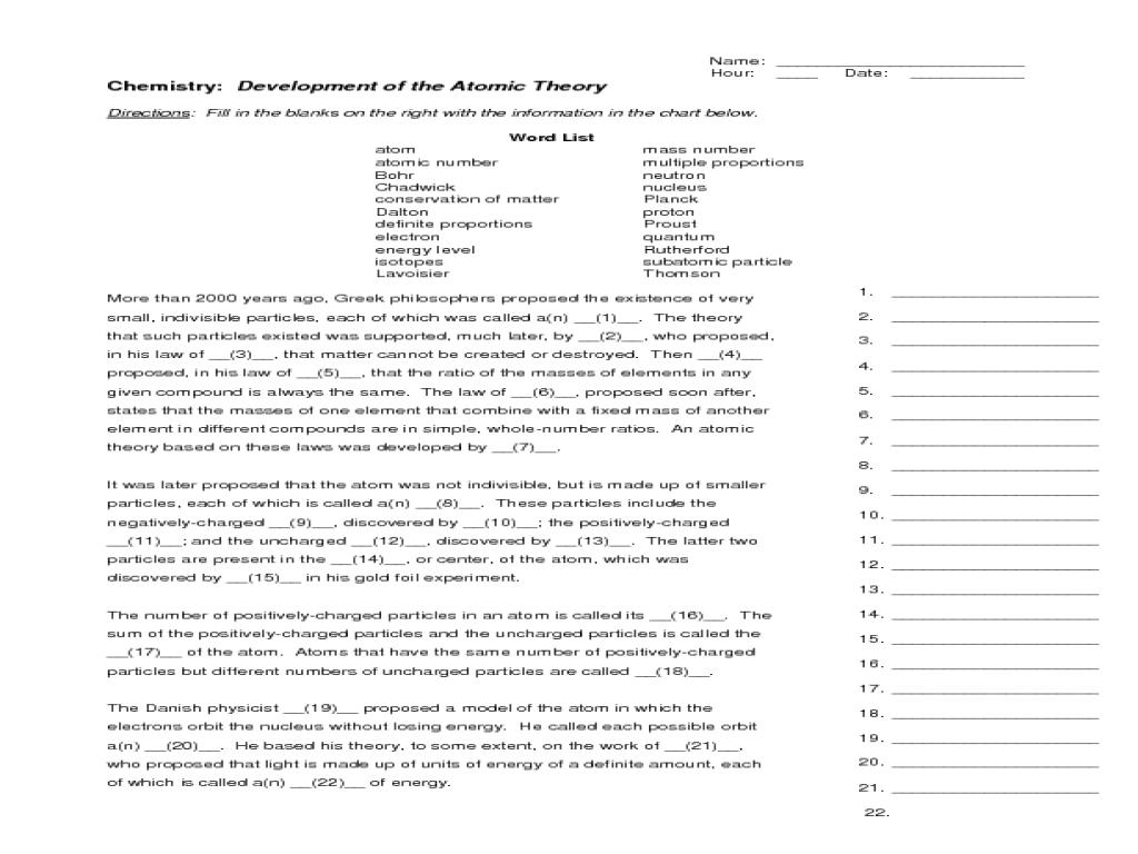 Worksheet Development Of Atomic Theory True Or False  Breadandhearth