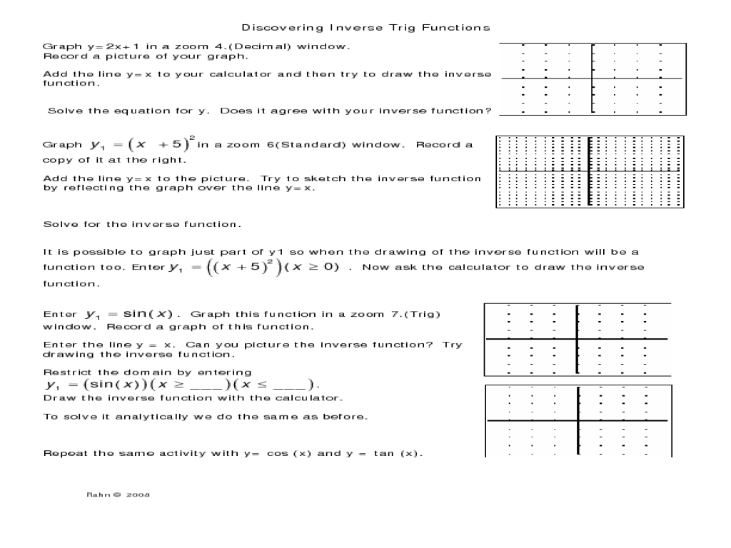 Inverse Trigonometric Functions Worksheet