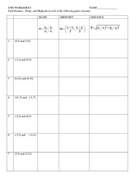 Math Distance Formula Worksheets