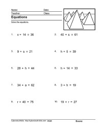 Solving One Step Variable Equations Worksheet - Tessshebaylo