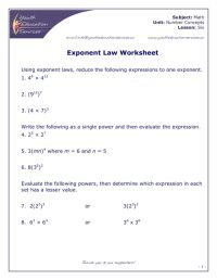Exponent Rules Worksheet. Worksheets. Kristawiltbank Free ...