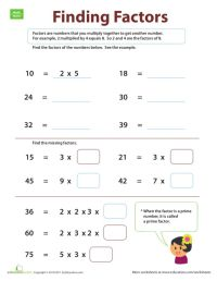 Factors And Multiples 4th Grade Worksheets