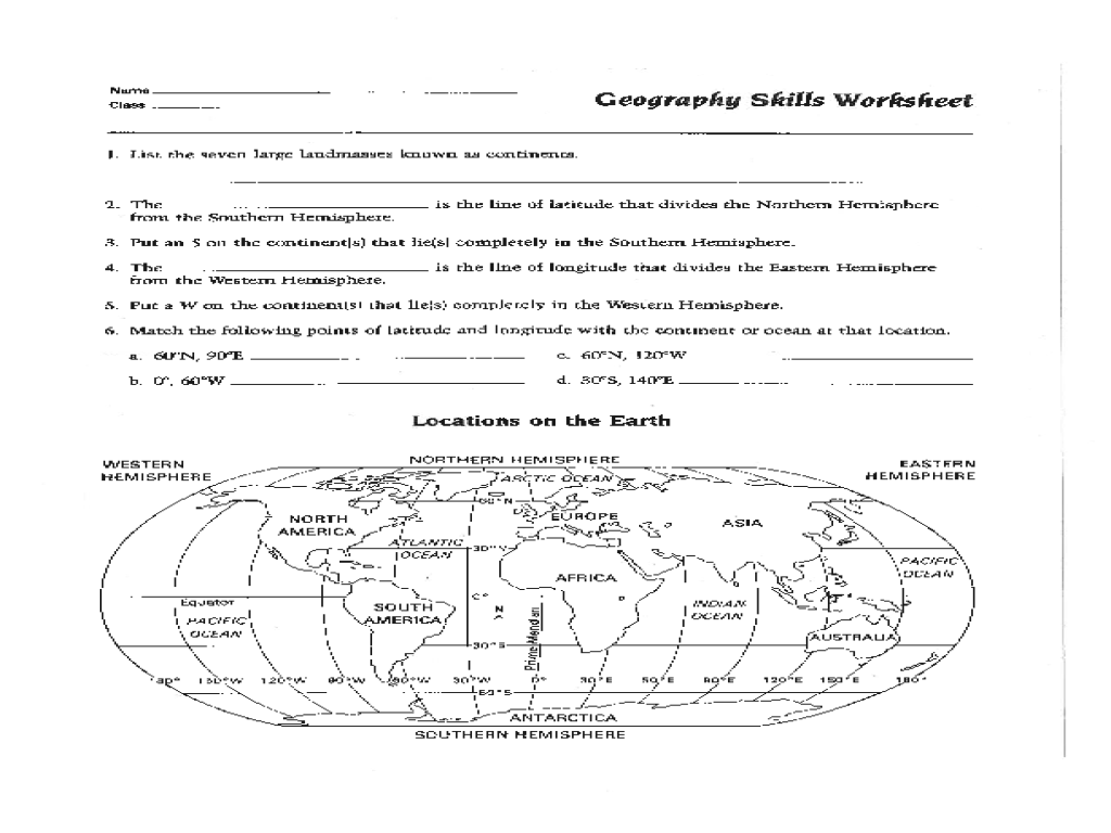 hight resolution of geography worksheet