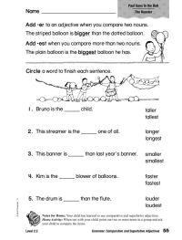 comparative adjectives worksheets for grade 4 ...