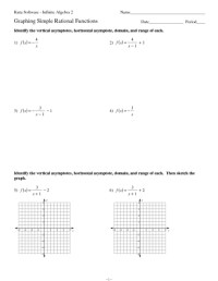 Printables. Graphing Rational Functions Worksheet ...