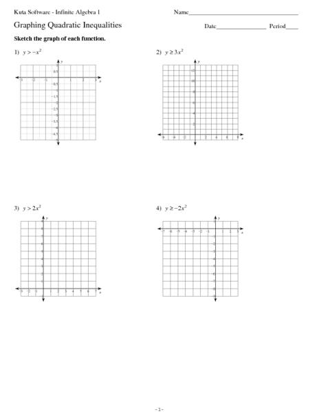 Math Worksheets Graphing Quadratic Equations  Graphing Quadratic Equationsgraphing