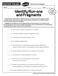 Sentence Fragments And Run Ons Worksheet Free Worksheets ...