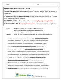 Subordinate Clauses Worksheet Free Worksheets Library