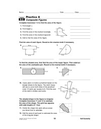 Maths Worksheets Composite Shapes - surface area ...