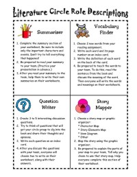 Printables. Literature Circles Roles Worksheets ...
