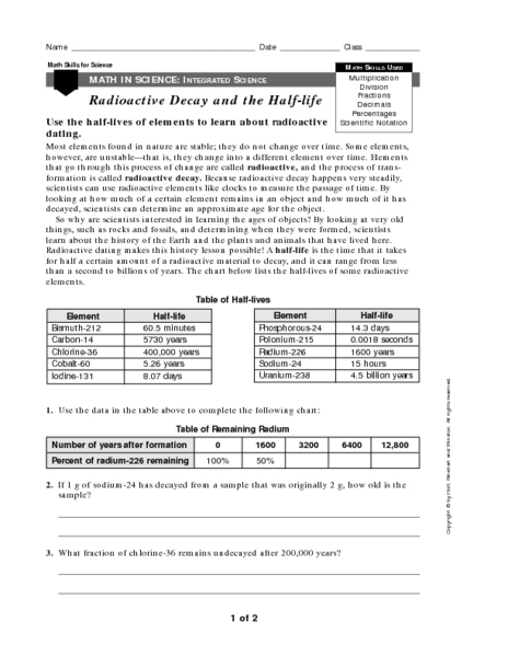 Worksheets On Radioactive Decay With Answers  Kidz Activities