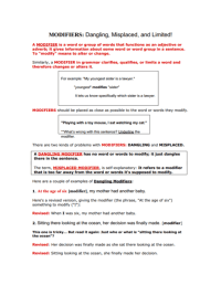 Printables. Misplaced And Dangling Modifiers Worksheet ...