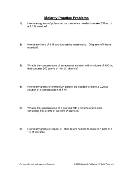 Printables. Molarity Worksheet. Mywcct Thousands of