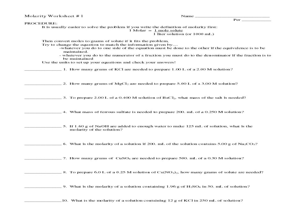 Printables. Molarity Worksheet. Lemonlilyfestival