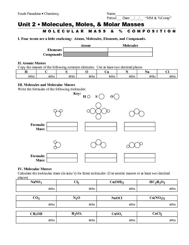 Percent Composition Chemistry Worksheet Free Worksheets