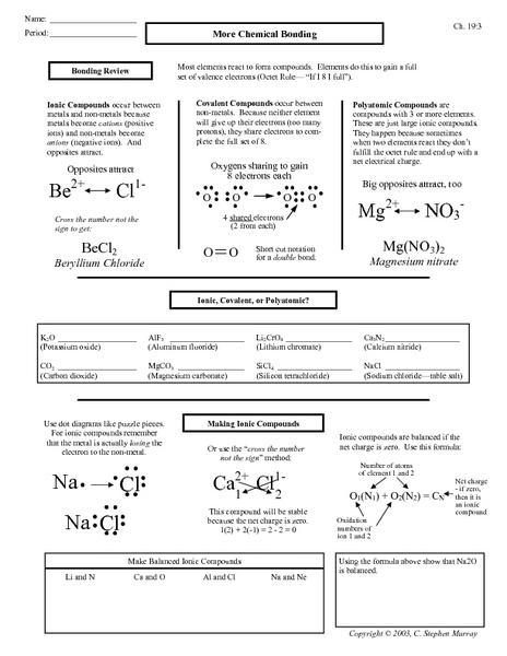 Chemical Bonding Worksheets - wiildcreative