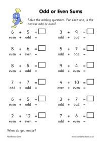 Number Names Worksheets  Odd Or Even Worksheet - Free ...