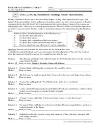 Indirect Characterization Worksheet Free Worksheets ...