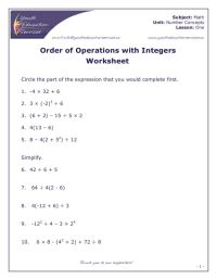 Order Of Operations Math Worksheet - order of operations 2 ...