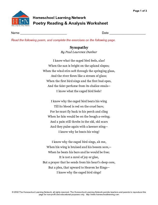 100+ [ Poetry Analysis Worksheet Answers ]   Year 7 Animal Poetry ...
