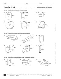 Free Math Worksheets Volume Of A Cylinder - volume and ...