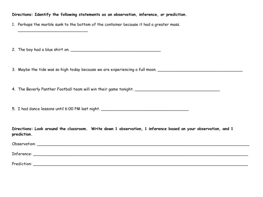 small resolution of 34 Observation Inference Prediction Worksheet - Worksheet Resource Plans
