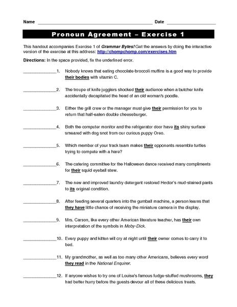 Pronoun Antecedent Agreement Worksheet For 3rd Grade