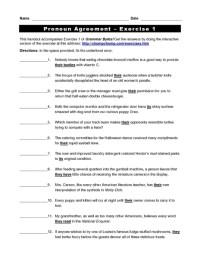 Pronoun Antecedent Agreement Worksheet For 3rd Grade - 6 1 ...