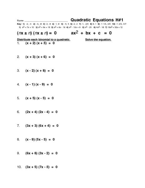 Factoring Quadratic Equations A 1 Worksheet