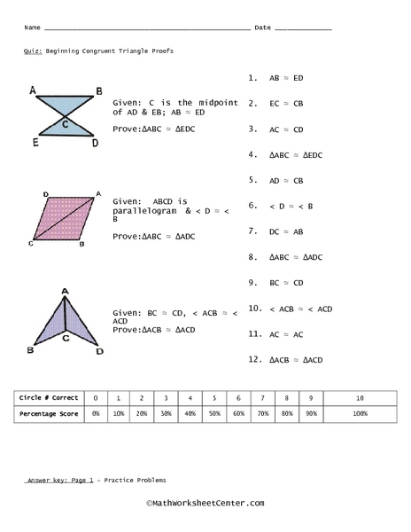 Free Math Worksheets Congruent Triangles
