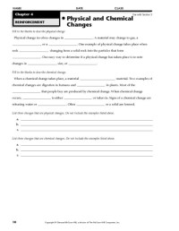 Worksheet On Chemical Vs Physical Properties And Changes ...
