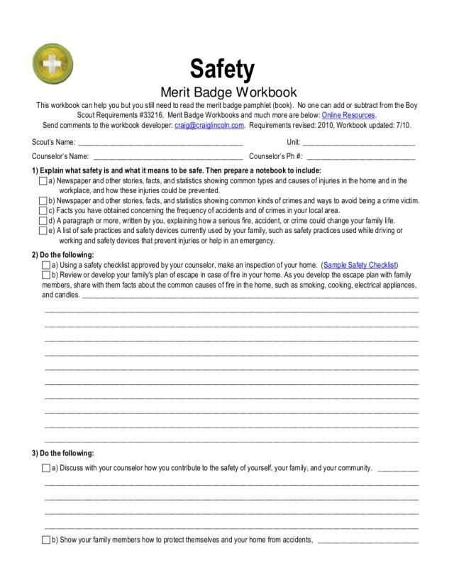 Boy Scouts Merit Badge Worksheets. Worksheets