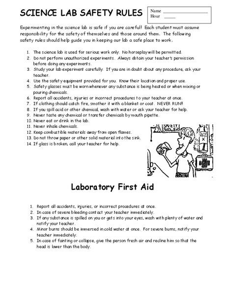 Lab Safety Worksheets - Saveoaklandlibrary