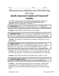 Complex Sentence 7th Grade - complex sentences ...