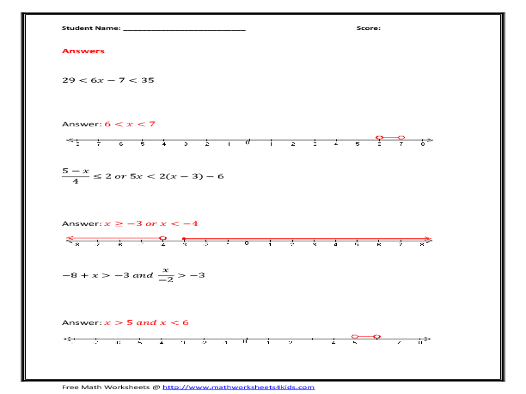 Solving Compound Inequalities Worksheet Free Worksheets