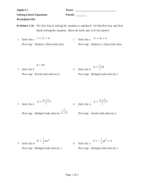 All Worksheets  Literal Equations Worksheets - Printable ...