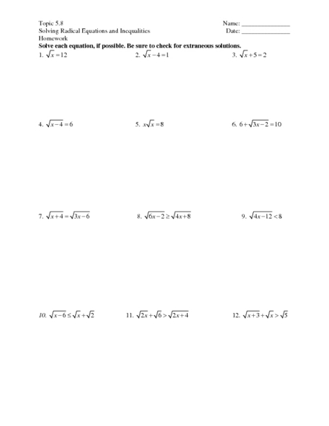 All Worksheets » Radical Worksheets  Printable Worksheets