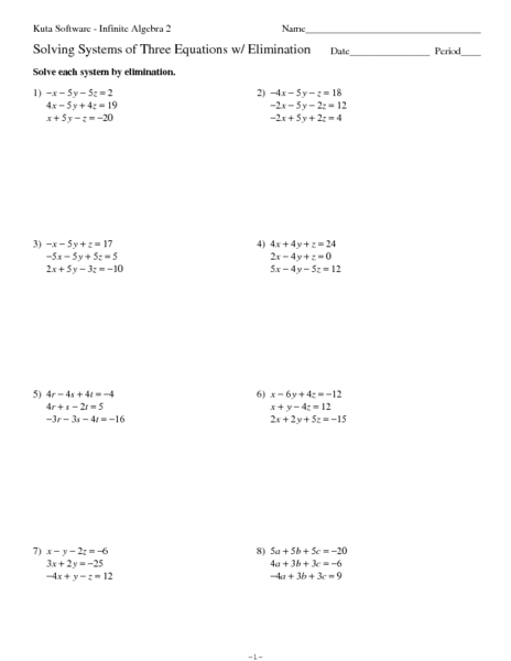 Solving Systems Of Equations By Elimination Worksheet Work