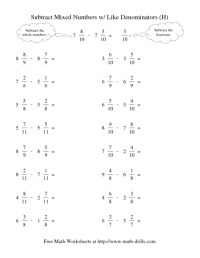 Adding And Subtracting Mixed Numbers Worksheet Free ...