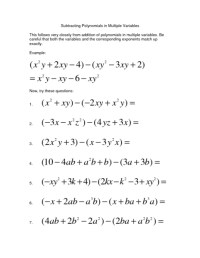 All Worksheets  Adding And Subtracting Polynomials
