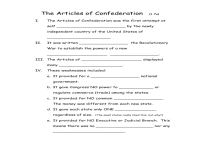 Articles Of Confederation Worksheet