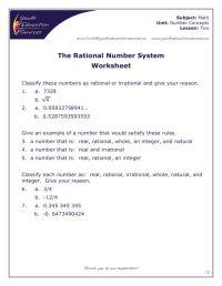 Real Number System Worksheet. Worksheets. Ratchasima ...