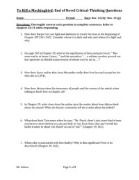 To Kill A Mockingbird Worksheet Free Worksheets Library