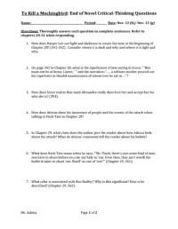 To Kill A Mockingbird Worksheet Free Worksheets Library