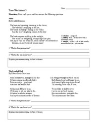 Tone Worksheets: Poetry Collection | Lesson Planet
